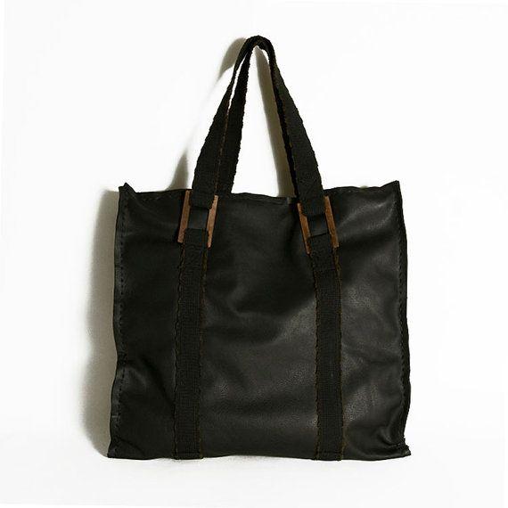 Tote bag  black bag  черный мешок  Leather by ElenaVandelliBags