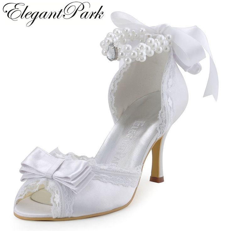 >> Click to Buy << Fashion White Woman Shoes A3202 Ivory Peep Toe  High Heel Bow Pearls Strap Satin Pumps Women's Wedding Bridal Shoes Lady Shoes  #Affiliate