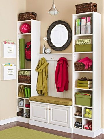 ENTRANCE instead of the small cubbies at the bottom how about smaller drawers for mitts etc