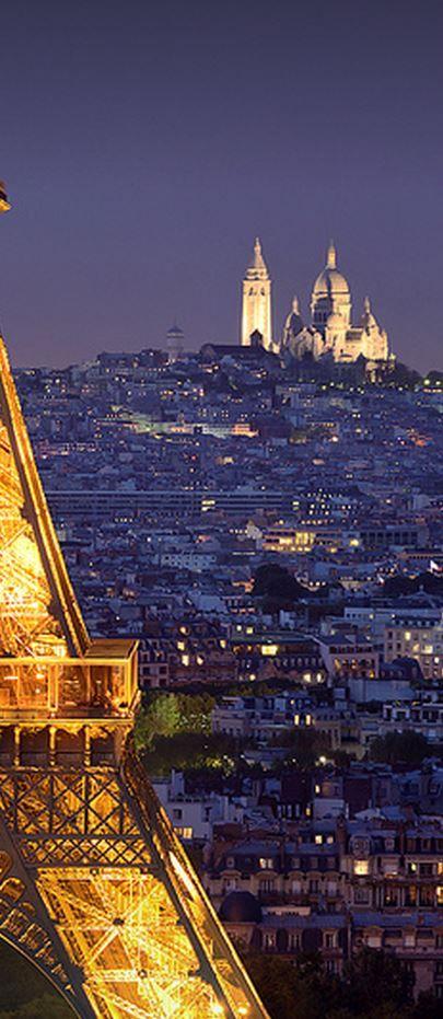 Tour Eiffel & Sacré Coeur, Paris, France (HDR / DRI) at the Blue Hour