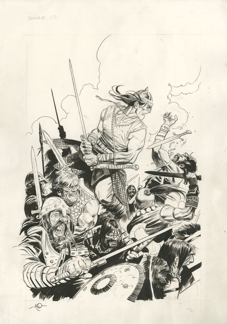 CONAN THE BARBARIAN #13 COVER WITH PRELIM -   MASSIMO CARNEVALE - W.B.