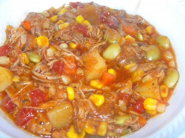 "Brunswick Stew Georgia Style ( Chicken & Pork ) from Food.com: A great accompanyment to any ""Southern Barbeque"" or by itself with a side of cornbread."