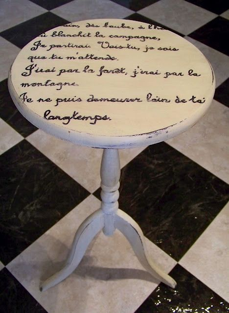 Add poetry script or writing on flea market finds painted tabletops chic shabby cottage style; Upcycle, Recycle, Salvage, diy, repurpose! For vintage ideas and goods shop at Estate ReSale & ReDesign, Bonita Springs, FL