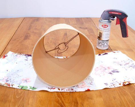 ades con tela, pantalla de lampara reciclada