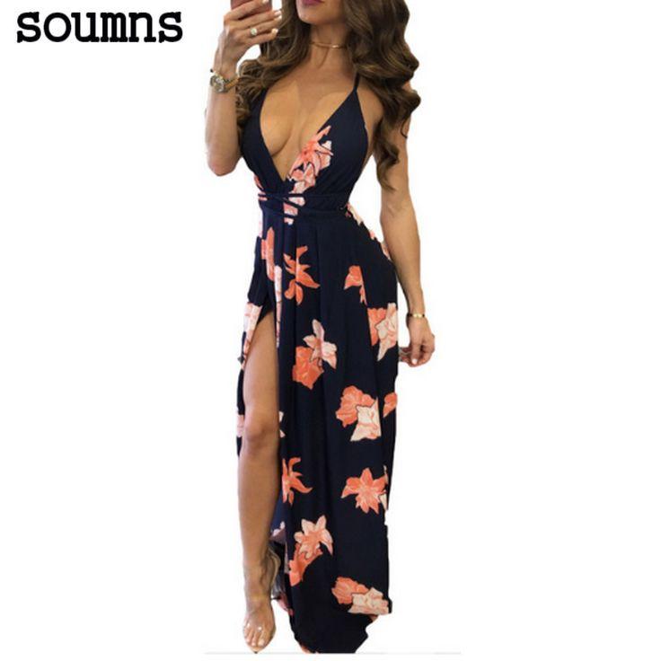 Soumns 2017 Nieuwe Mode Elegante Bandage Dress Boho Sexy Strapless Dress Dames Backless Maxi Print Jurken  SY8121