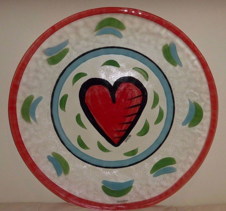 "Kosta Boda Ulrica Hydman Vallien 13"" Heart Platter Charger #KostaBoda"