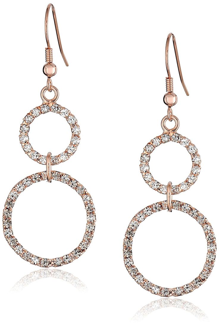 Oroclone 14k Rose Gold-Plated Crystal Two Circle Drop Earrings >>> Learn more by visiting the image link. (This is an Amazon Affiliate link and I receive a commission for the sales)