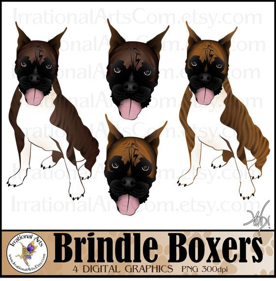 Brindle Boxer Dog Graphics set 1 with 4 digital by IrrationalArts, $3.45