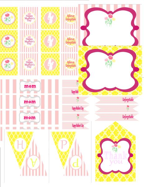 "Mother's Day - Free Printables - party circles, favor tags, food labels, drink flags, water bottle labels, a ""Happy Mother's Day"" banner"