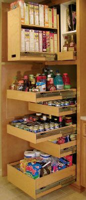 Great kitchen organizing - roll-out shelves.