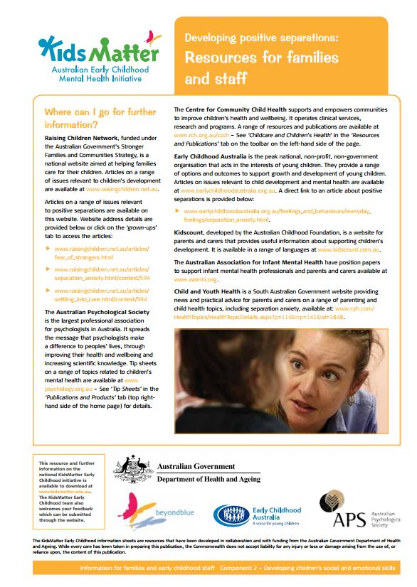 Developing positive separations: Resources for families and staff. Information sheets for families and ECEC staff.