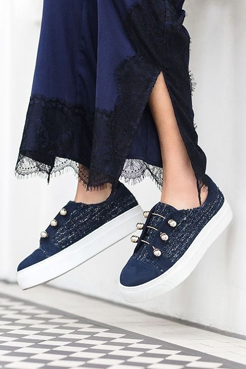 Blue Flatform Trainers.  Taking hints from military glam, Orla from KG Kurt Geiger arrives in blue tweed with three gold pearl-tipped bars running across the throat. Finished with a pumped-up 40mm white outsole, borrowed from our best-selling Latina flat