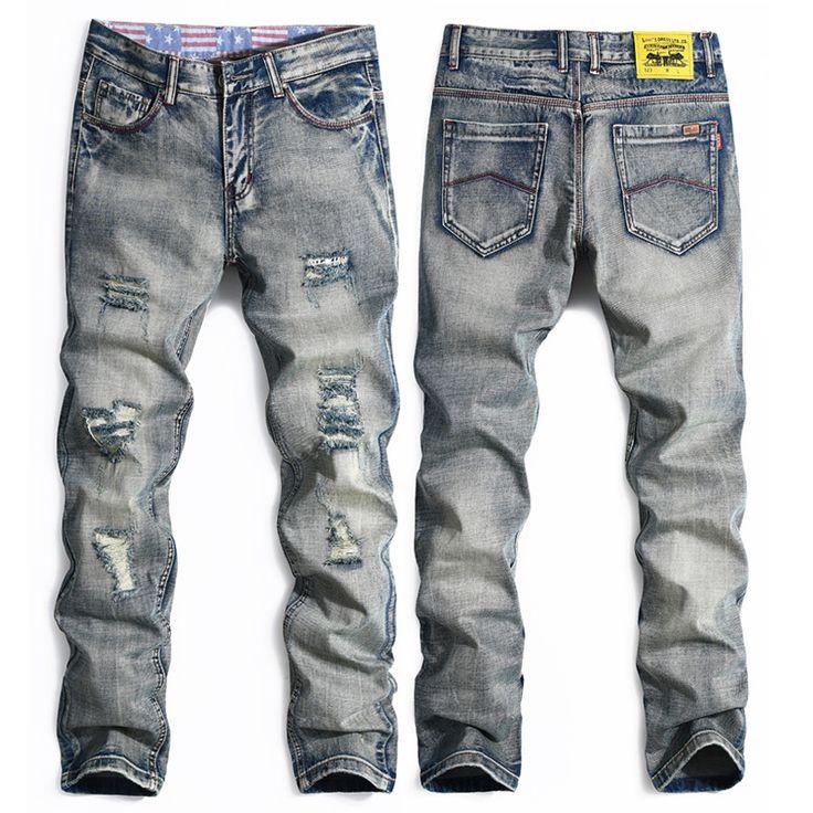 Винтаж мужчины байкер джинсы на молнии отверстия джинсовой жан homme дизайнер джинсы мужчин высокого качества для мужчин джинсы CD1274