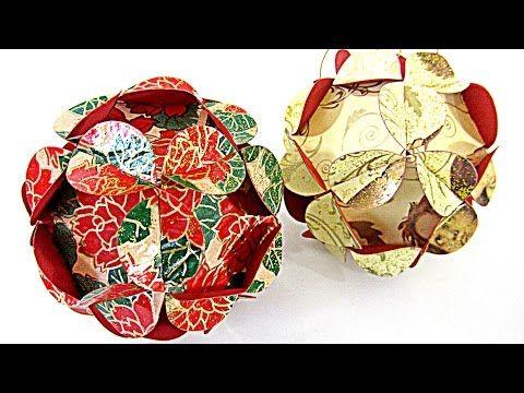 Cómo hacer adornos (esferas) de Navidad. Christmas ornament sphere - YouTube
