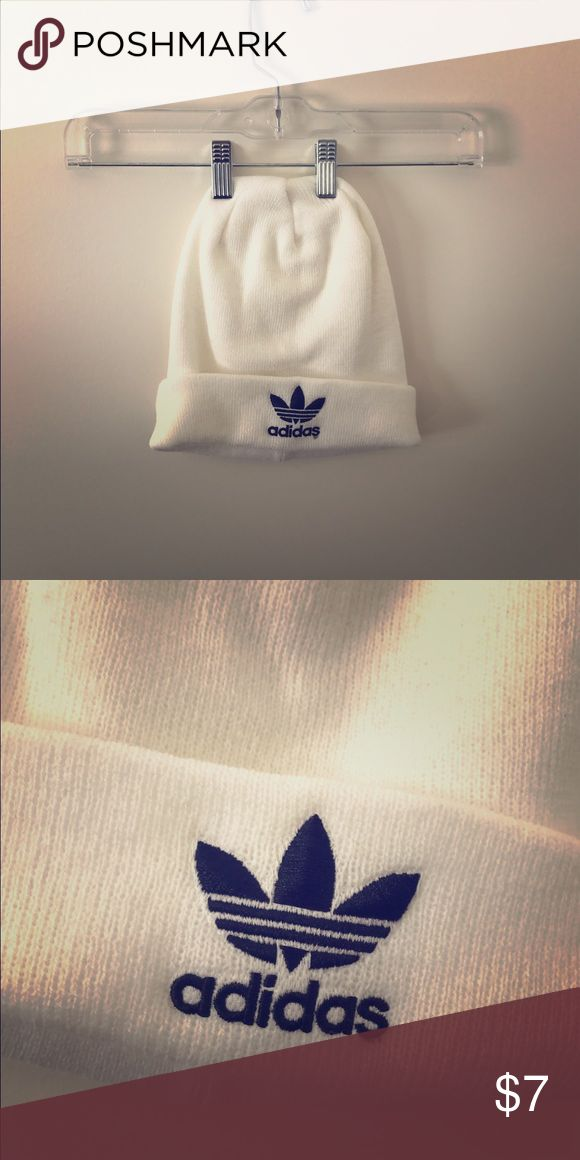 White Adidas Beanie Very lightly used. Perfect to keep your head warm or make a fashion statement.  Offers welcomed!! Adidas Accessories Hats