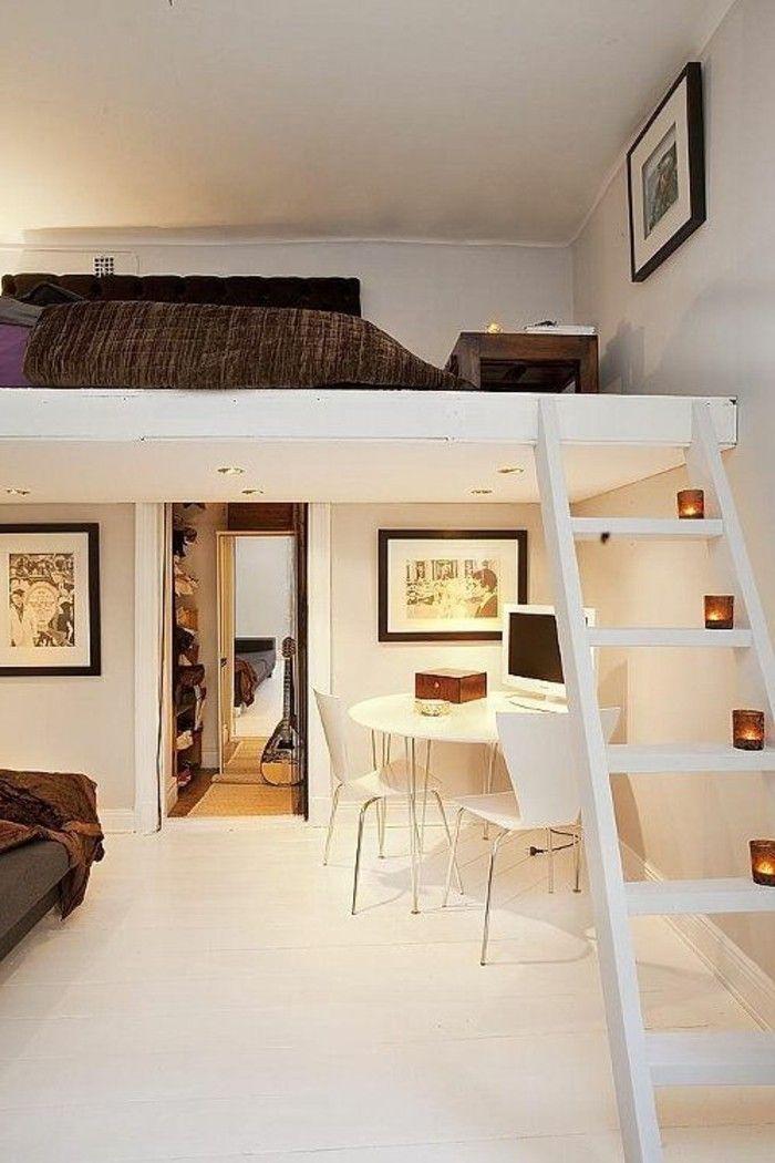 lit superposé. idee deco chambre ado fille murs en beige, chambre d'ado fille
