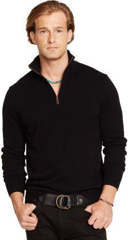 $149, Black Zip Sweater: Polo Ralph Lauren Cashmere Half Zip Sweater. Sold by Ralph Lauren. Click for more info: http://lookastic.com/men/shop_items/119833/redirect