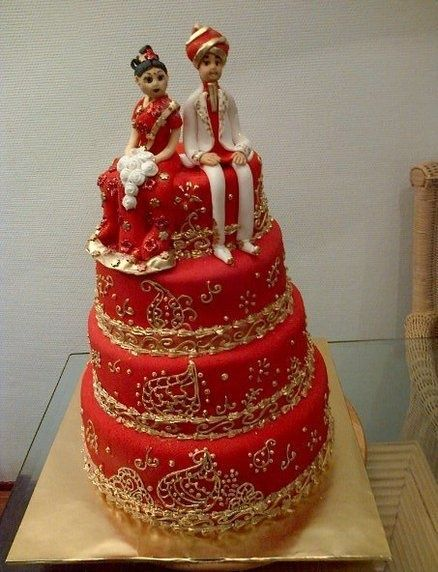 Indian Weddings Inspirations. Red wedding cake. Repinned by #indianweddingsmag http://etsy.me/1StLQzz