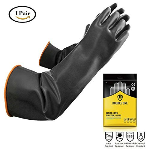 """Double One Natural Latex Chemical Resistant Gloves,Industrial Safety Work Protective gloves,Elbow Length 22"""" Length Black 1 Pair Size Extra Large  latex gloves material: Malaysia imported latex by CE / SGS international testing and certification  chemical gloves strengthen vulcanization technology,Acid and alkali resistance,Wear-resistant,Long durability.second dipping which have strong toughness,strong tear resistant and impale resistant.  protective gloves tensile strength is not obv..."""