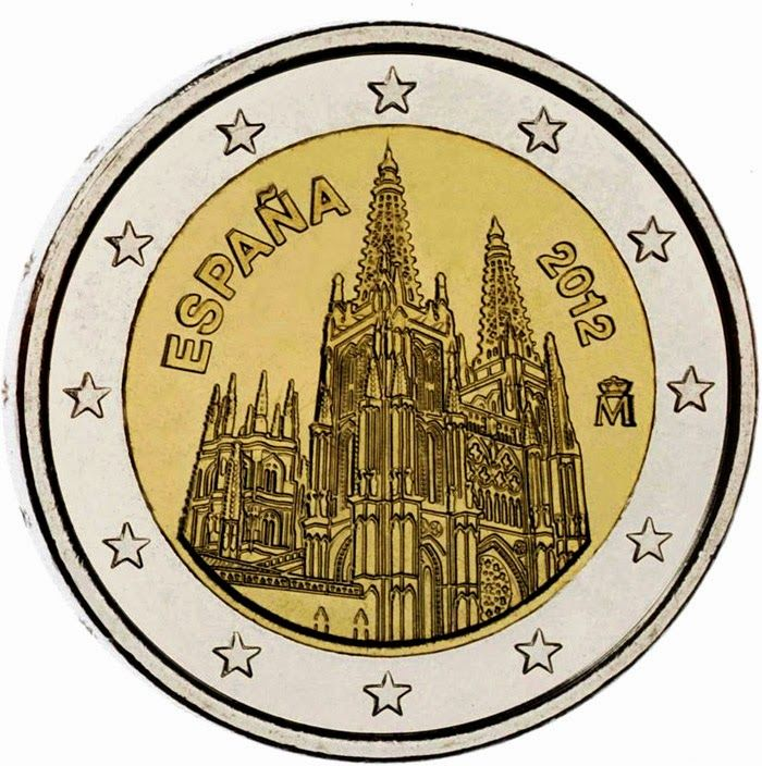 Spanish commemorative 2 euro coins - The Burgos Cathedral — UNESCO's World Natural and Cultural Heritage Sites Commemorative 2 euro coins from Spain