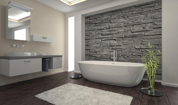 Grey bathroom feature wall.