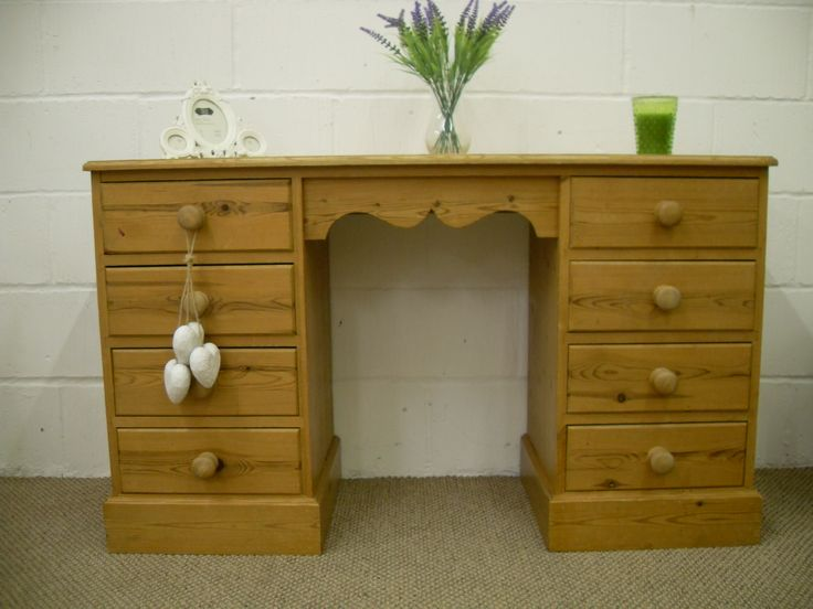 WAXED SOLID PINE DRESSING TABLE 8 DRAWERS **CAN COURIER** - W 130 - D 47 - H 76 CM - £140 http://www.drabtofabfurniture.co.uk/non-painted-furniture/