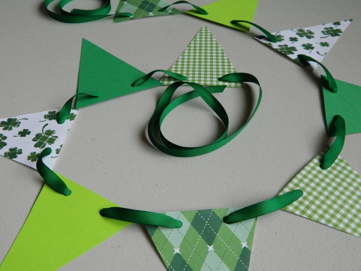 Paper Garland St Patricks Day Decorations Holiday Garland St Pattys Decor St Pattys Bunting Photo Prop. $8.25, via Etsy.
