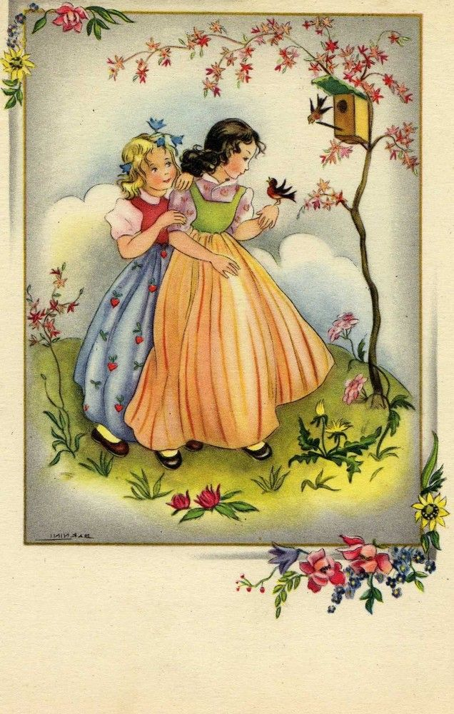 Old Post Card — Two Girls