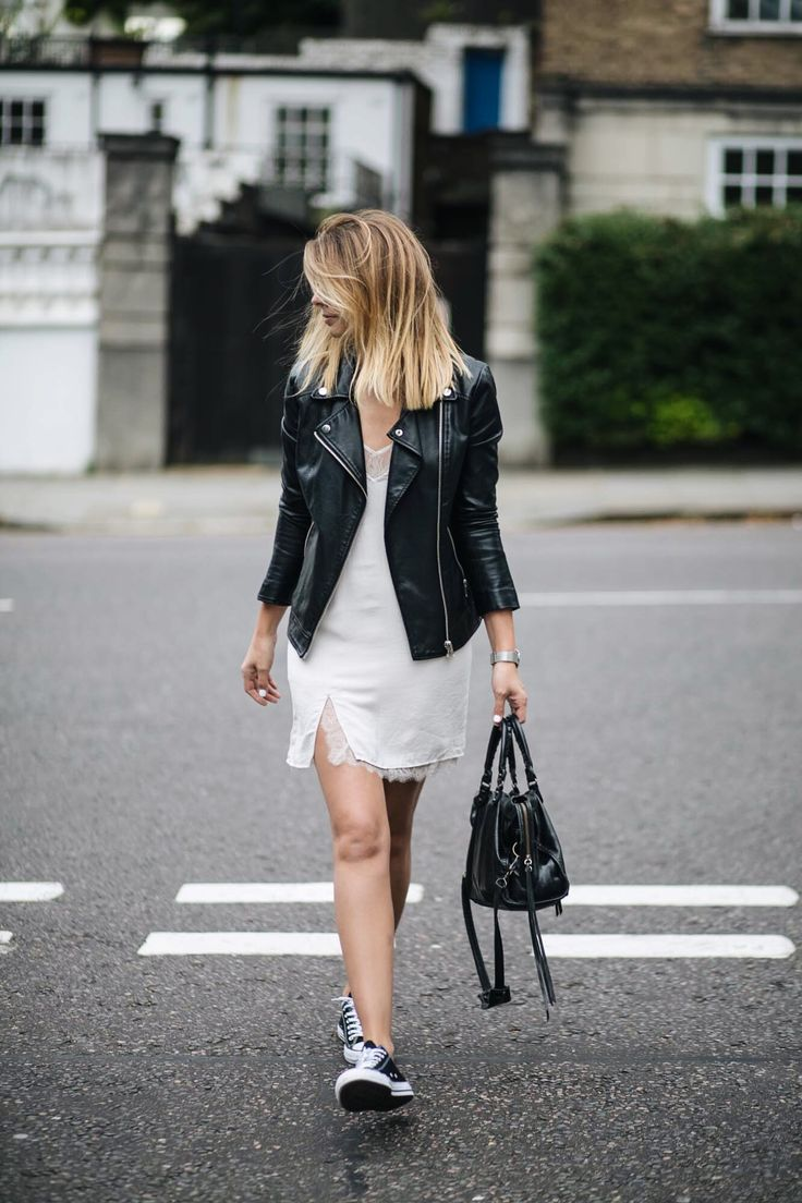 how to wear a slip dress, black leather biker jacket ...