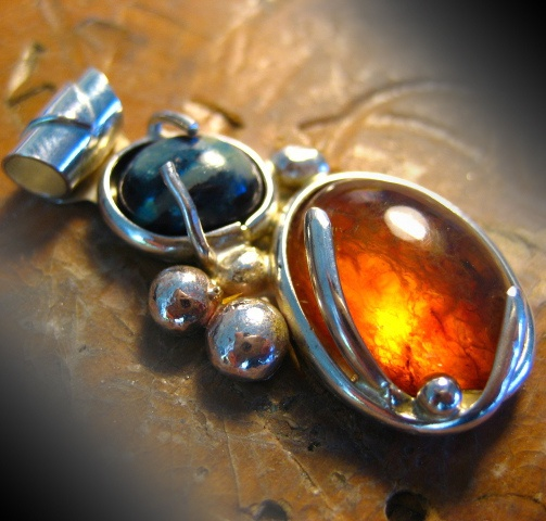 Amber and Black Opal Pendant