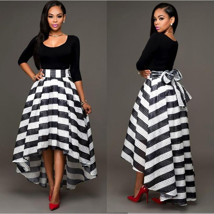 Black and White Stripes Dress long sleeve T-shirt stripe two-piece outfit