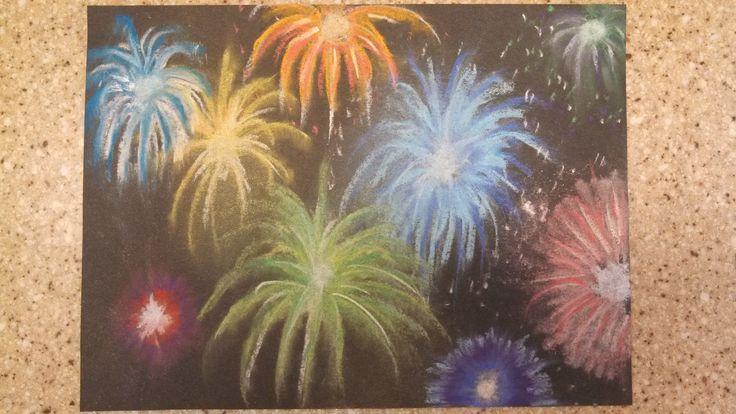 Fireworks - chalk pastels on black paper