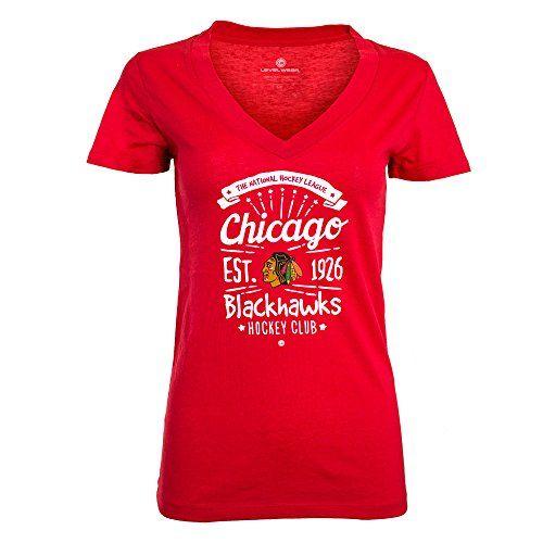 NHL Chicago Blackhawks Ladies Anthem Entice V-Neck Tee, Medium, Solid Flame Red