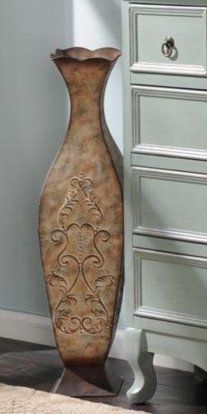 Distressed Cream Metal Floor Vase #kirklands #vintagechic #vase