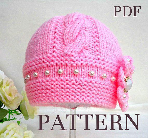 Knitting Pattern Baby Hat Baby Beanie Knit Pattern Infant Baby Girl Pattern…