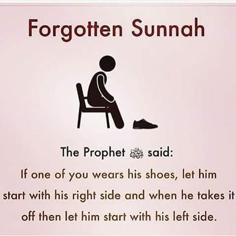 Always start with the right side first. It is SUNNAH!