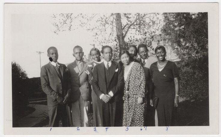 (1) Mr. Lee, (2) Albert Soders, (3) Esther Hamlett, (4) Langston Hughes, (5) Mrs. W.R. Banks, (6) Wilma White, (7) Mr. Archer and (8) Alvin Logan in Prairie View