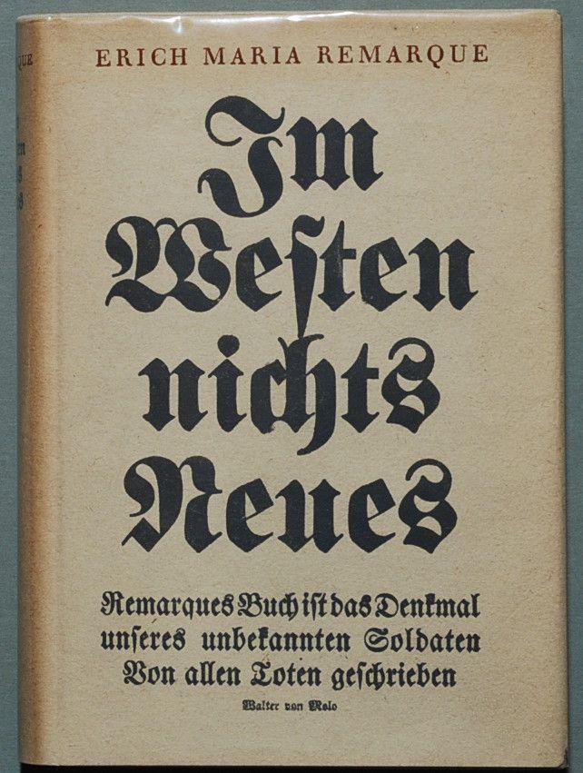 Van het westelijk front geen nieuws is een boek van Erich Maria Remarque, een Duitse veteraan van de Eerste Wereldoorlog, over de gruwelen en de zinloosheid van oorlog. Het boek werd voor het eerst gepubliceerd in januari 1929