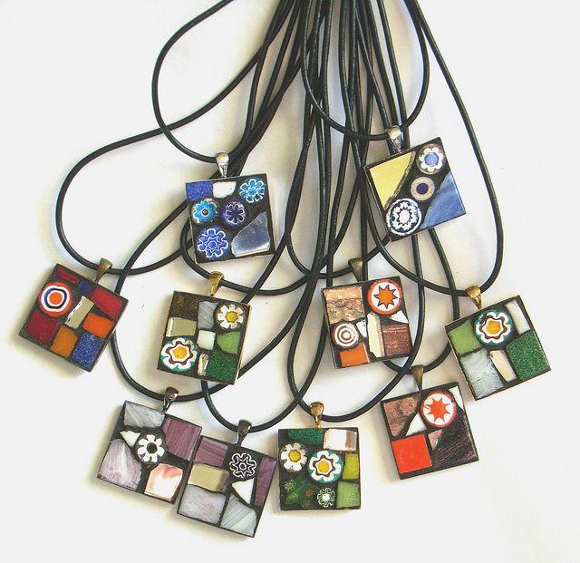 mosaic pendants by Ilona Bryan