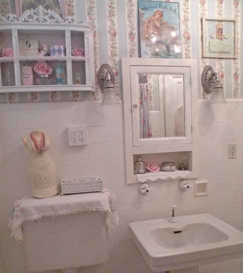 Shabby chic bathroom – love the cubby under the mirror