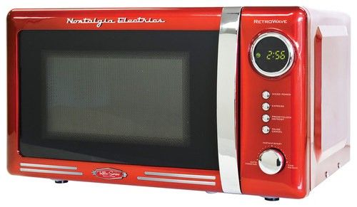 Nostalgia Electrics - Retro Series 0.7 Cu. Ft. Compact Microwave - Red - Larger Front