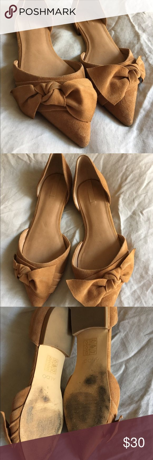 ALDO suede bow flats Tan leather suede pointed flats from ALDO. Only worn two times! Shoes Flats & Loafers