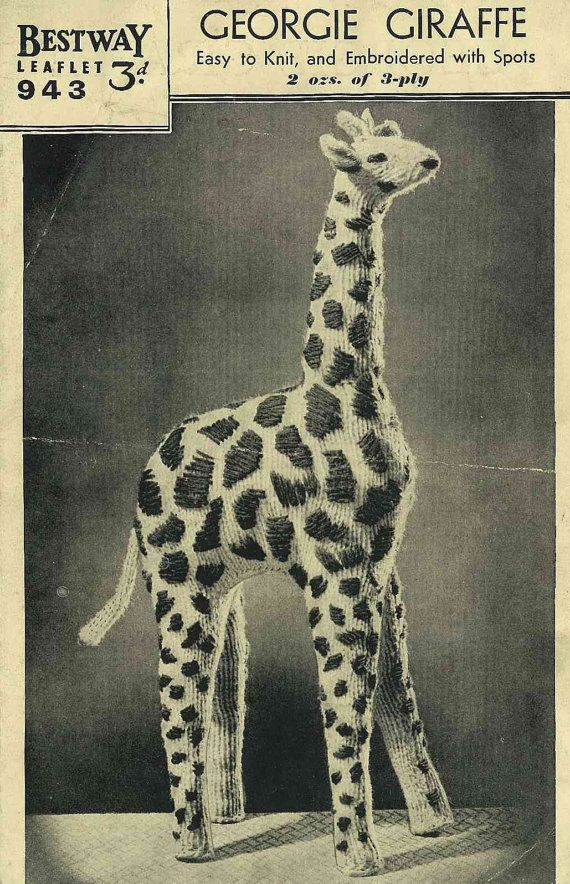 Vintage Knitting Patterns Toys : 1930s Knitted Georgie Giraffe toy pattern - vintage knitting pattern PDF To...
