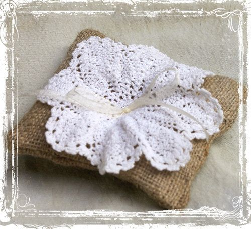 Lace And Burlap Ring Bearer Pillow - Spring Summer Fall Winter Wedding - Rustic Vintage Weddings - Romantic, Old Fashioned, Charming on Etsy, $16.00