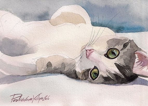 Tabby White Cat Print of Watercolor Painting by creativeartistic