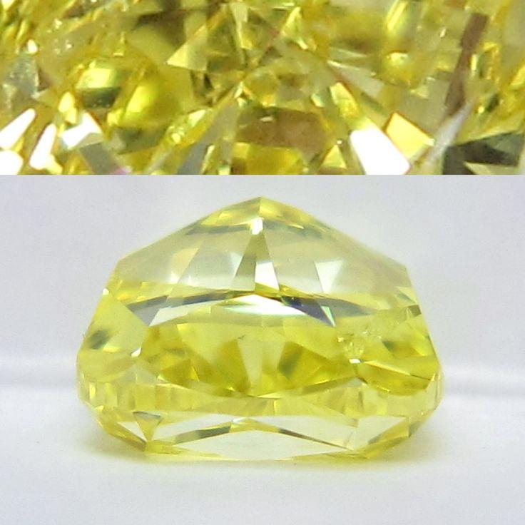 Sleeping yellow cushion cut diamond