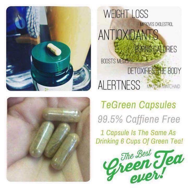 Green tea  These little beauties have the same amount as 6 cups of detoxing green tea take 1 early morning to. Boost immunity and gives you energy while detoxification of the toxins from day before are manipulated to help free the bad toxins from your system aswell as coverage of all yourrvital biotics it's a foodsupressant and s fat burner so in 30 days you will have never had believed in this one little tea green pill.... please contact us to order thanks Lorraine