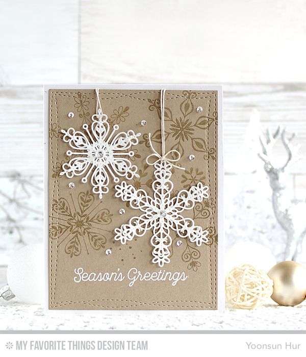 Simply Snowflakes Stamp Set, Stylish Snowflakes Die-namics, Wonky Stitched Rectangle STAX Die-namics - Yoonsun Hur  #mftstamps