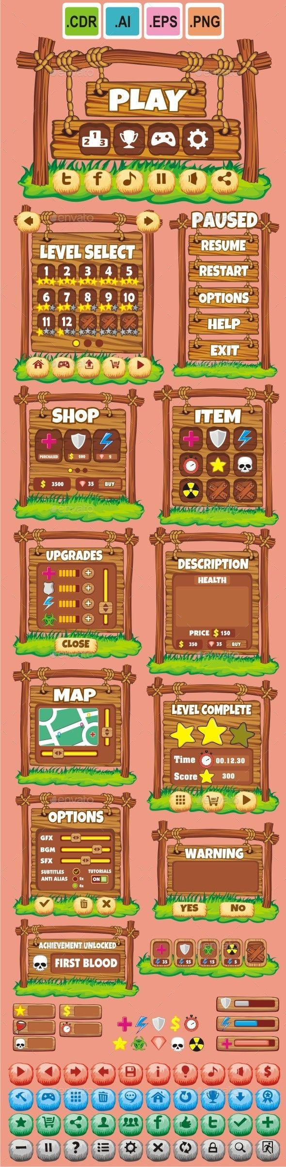 Cartoon Game GUI Pack Vector EPS, AI Illustrator. Download here: https://graphicriver.net/item/cartoon-game-gui-pack-20/10713924?ref=ksioks