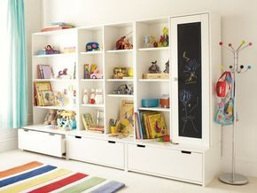 Love this!!!! Toy storage unit (IKEA). I need an idea for this once we finish the basement!! Looks great!!